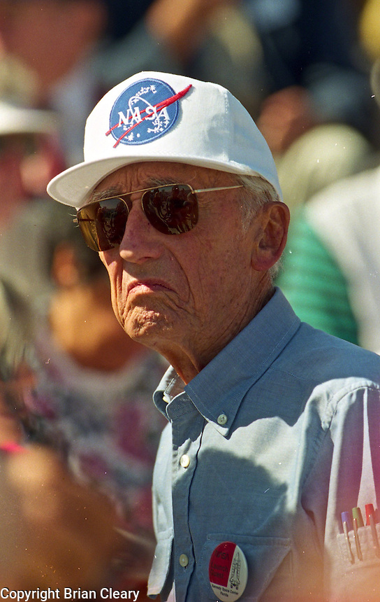 Legendary explorer, scientist, underwater pioneer Jacques Cousteau prepares to watch Space Shuttle Atlantis lift-off from Kennerdy Space Center in Titusville, FL to begin the STS-66 mission on November 3, 1994.  (Photo by Brian Cleary / www.bcpix.com)