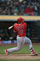 OAKLAND, CA - JUNE 15:  Jose Briceno #10 of the Los Angeles Angels of Anaheim bats against the Oakland Athletics during the game at the Oakland Coliseum on Friday, June 15, 2018 in Oakland, California. (Photo by Brad Mangin)