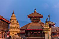 The statue of King Bhupatindra Malla (on the right),  Durbar Square, Bhaktapur, Kathmandu Valley, Nepal.