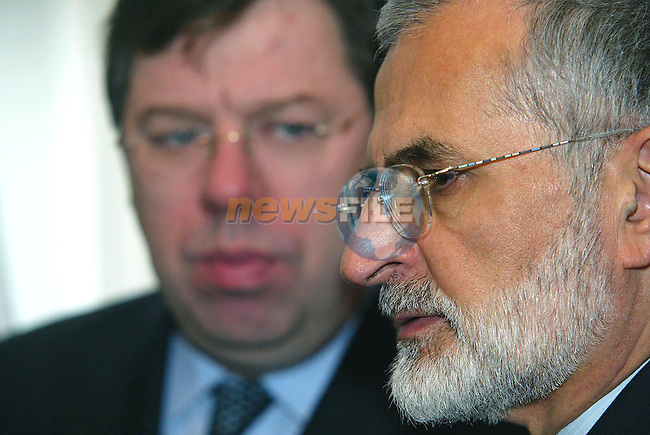 DUBLIN IRELAND.  IRANIAN FOREIGN MINISTER MR. KAMAL KHARRAZI (R) SPEAKING TO JOURNALISTS AFTER MEETING WITH IRISH MINISTER FOR FOREIGN AFFAIRS BRIAN COWEN (L) AT IVEAGH HOUSE IN DUBLIN  20TH APRIL 2004&amp;#xD;AFP PHOTS/NEWSFILE/MAXWELLS&amp;#xD;9captions Should Read AFP PHOTO/ Newsfile-Maxwells)&amp;#xD;&amp;#xD;&amp;#xD;&amp;#xD;This Picture has been sent to you by Newsfile Ltd.&amp;#xD;The Studio,&amp;#xD;Millmount Abbey,&amp;#xD;Drogheda,&amp;#xD;Co. Meath,&amp;#xD;Ireland.&amp;#xD;Tel: +353(0)41-9871240&amp;#xD;Fax: +353(0)41-9871260&amp;#xD;ISDN: +353(0)41-9871010&amp;#xD;www.newsfile.ie&amp;#xD;&amp;#xD;general email: pictures@newsfile.ie<br />