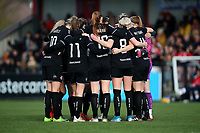 Bristol City players huddle during Arsenal Women vs Bristol City Women, Barclays FA Women's Super League Football at Meadow Park on 1st December 2019