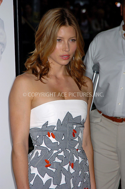 WWW.ACEPIXS.COM . . . . .  ....June 18, 2007. New York City.....Actress Jessica Biel arrives at the 'I Now Pronounce You Chuck and Larry' premiere held at Ziegfeld Theater in New York City.......Please byline: AJ Sokalner - ACEPIXS.COM.... *** ***..Ace Pictures, Inc:  ..Philip Vaughan (646) 769 0430..e-mail: info@acepixs.com..web: http://www.acepixs.com