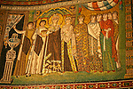 Mosaic panel in the Basilica of San Vitale in Ravenna, Italy  of the Empress Theodora and her court ladies; this moasic panel was made in 548.