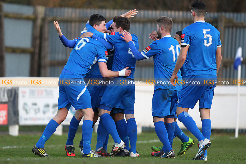 Bury Town players celebrate their second goal - Bury Town vs AFC Hornchurch - Ryman League Premier Division Football at Ram Meadow, Bury St Edmunds, Suffolk - 28/12/13 - MANDATORY CREDIT: Gavin Ellis/TGSPHOTO - Self billing applies where appropriate - 0845 094 6026 - contact@tgsphoto.co.uk - NO UNPAID USE
