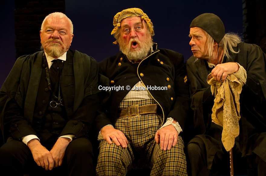 "Bath, Avon, UK. 25/07/2011. ""Henry IV, Part II"", part of the Peter Hall season at Theatre Royal Bath. Philip Voss as Justice Shallow, Desmond Barrit as Sir John Falstaff and Robert East as Justice Silence. Photo credit: Jane Hobson"
