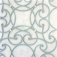 Abigail, a handmade mosaic shown in honed Afyon White, Infinity glass and Shell. Designed by Sara Baldwin for New Ravenna.<br />