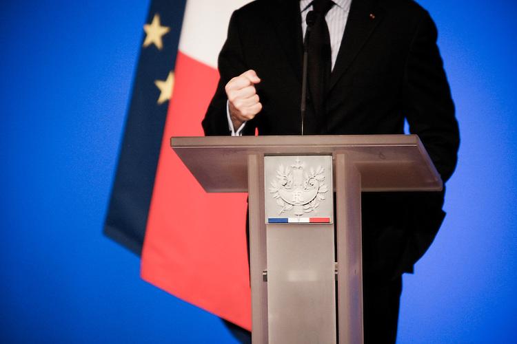 Nicolas Sarkozy, président de la République participe à la cérémonie des voeux aux Corps diplomatique au Palais de l'Elysée à Paris, France, vendredi 20 janvier 2012 - 2012©Jean-Claude Coutausse / french-politics pour Le Monde