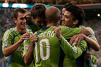 Stephen King, Brad Evans, Freddie Ljungberg, Fredy Montero celebrate Montero's goal in the Seattle Sounders 2-1 win against San Jose Earthquake on Saturday, June 13, 2009 at Quest Field in Seattle, WA.