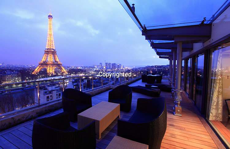 The view of Eiffel Tower from rooftop suit of newly opened Hotel Shangri-La Paris. Paris. France