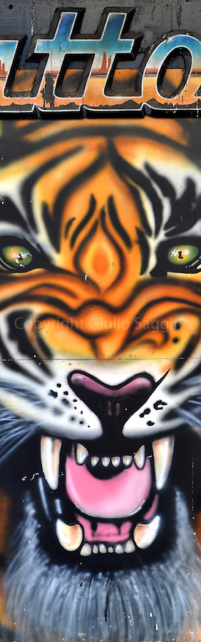 Painting of a tiger on the side of a tattoo parlour on Elizabeth Street on the outskirts of the Sydney CBD.