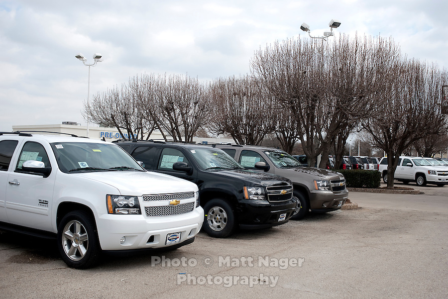 A Huffines Chevrolet and GM car dealership in Lewisville, Texas, Thursday, February 17, 2011. Auto sales are going up because financing for auto loans has become available again...Photo by Matt Nager