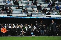 Newcastle United manager Rafa Benítez (r) looks on infant of his coaching staff and substitutes during Newcastle United vs Southampton, Premier League Football at St. James' Park on 10th March 2018