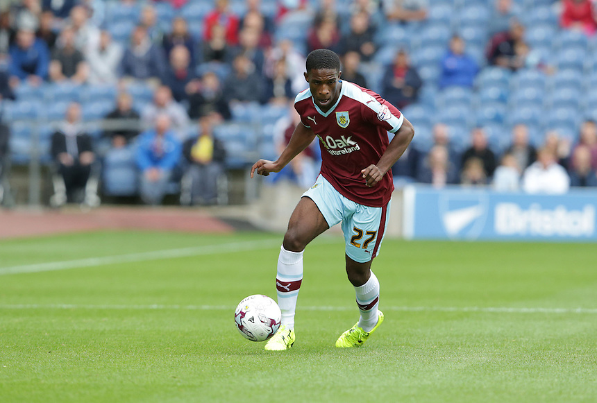 Burnley's Tendayi Darikwa<br /> <br /> Photographer Stephen White/CameraSport<br /> <br /> Football - The Football League Sky Bet Championship - Burnley v Birmingham City - Saturday 15th August 2015 - Turf Moor - Burnley<br /> <br /> &copy; CameraSport - 43 Linden Ave. Countesthorpe. Leicester. England. LE8 5PG - Tel: +44 (0) 116 277 4147 - admin@camerasport.com - www.camerasport.com