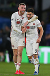 Sheffield United's Oliver McBurnie and George Baldock celebrate after Premier League match at Selhurst Park, London. Picture date: 1st February 2020. Picture credit should read: Paul Terry/Sportimage
