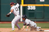 Mississippi State second baseman Brett Pirtle (13) turns a double play during Game 11 of the 2013 Men's College World Series against the Oregon State Beavers on June 21, 2013 at TD Ameritrade Park in Omaha, Nebraska. The Bulldogs defeated the Beavers 4-1, to reach the CWS Final and eliminating Oregon State from the tournament. (Andrew Woolley/Four Seam Images)