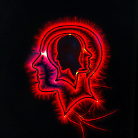 Photo illustration of head  with red glow.