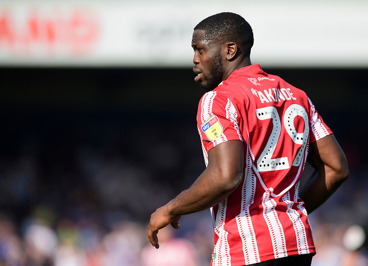 Lincoln City's John Akinde<br /> <br /> Photographer Chris Vaughan/CameraSport<br /> <br /> The EFL Sky Bet League Two - Lincoln City v Tranmere Rovers - Monday 22nd April 2019 - Sincil Bank - Lincoln<br /> <br /> World Copyright © 2019 CameraSport. All rights reserved. 43 Linden Ave. Countesthorpe. Leicester. England. LE8 5PG - Tel: +44 (0) 116 277 4147 - admin@camerasport.com - www.camerasport.com
