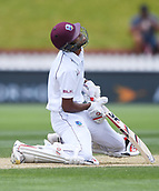 4th December 2017, Basin Reserve, Wellington, New Zealand; International Test Cricket, Day 4, New Zealand versus West Indies;  Roston Chase sits dejected after being bowled by Henry