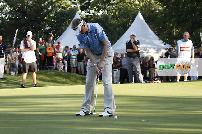 Simon Wakefield (ENG) takes his putt on the 18th green during Sunday's Final Round of the Austrian Open presented by Lyoness at the Diamond Country Club, Atzenbrugg, Austria, 25th September 2011 (Photo Eoin Clarke/www.golffile.ie)