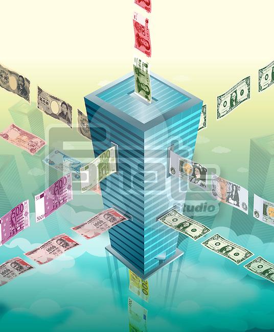 Illustration of money exchange building