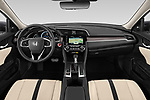 Stock photo of straight dashboard view of 2019 Honda Civic-Sedan Touring 4 Door Sedan Dashboard
