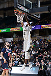 Melo Eggleston (11) of the Wake Forest Demon Deacons goes up for a slam dunk during second half action against the Richmond Spiders at the LJVM Coliseum on December 2, 2017 in Winston-Salem, North Carolina.  The Demon Deacons defeated the Spiders 82-53.  (Brian Westerholt/Sports On Film)