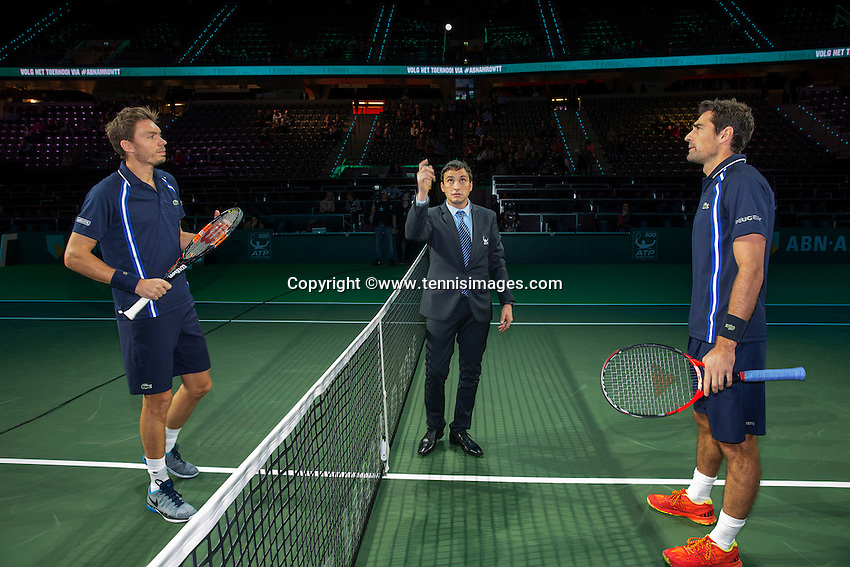 Rotterdam, The Netherlands, Februari 11, 2016,  ABNAMROWTT, Jeremy Chardy (FRA) and Nicolas Mahut (FRA) (R) at the toss<br /> Photo: Tennisimages/Henk Koster