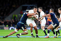 Nathan Hughes of England takes on the France defence. RBS Six Nations match between England and France on February 4, 2017 at Twickenham Stadium in London, England. Photo by: Patrick Khachfe / Onside Images