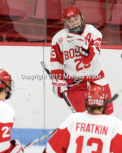 Marie-Philip Poulin (BU - 29) - The Boston University Terriers defeated the Harvard University Crimson 5-2 on Monday, January 31, 2012, in the opening round of the 2012 Women's Beanpot at Walter Brown Arena in Boston, Massachusetts.