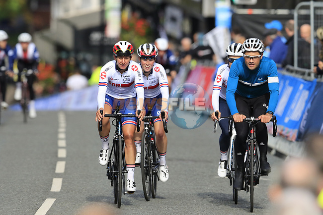 Team Great Britain takes advantage of free practice on the Harrogate Circuit before the Men Elite Individual Time Trial of the UCI World Championships 2019 running 54km from Northallerton to Harrogate, England. 25th September 2019.<br /> Picture: Eoin Clarke | Cyclefile<br /> <br /> All photos usage must carry mandatory copyright credit (© Cyclefile | Eoin Clarke)