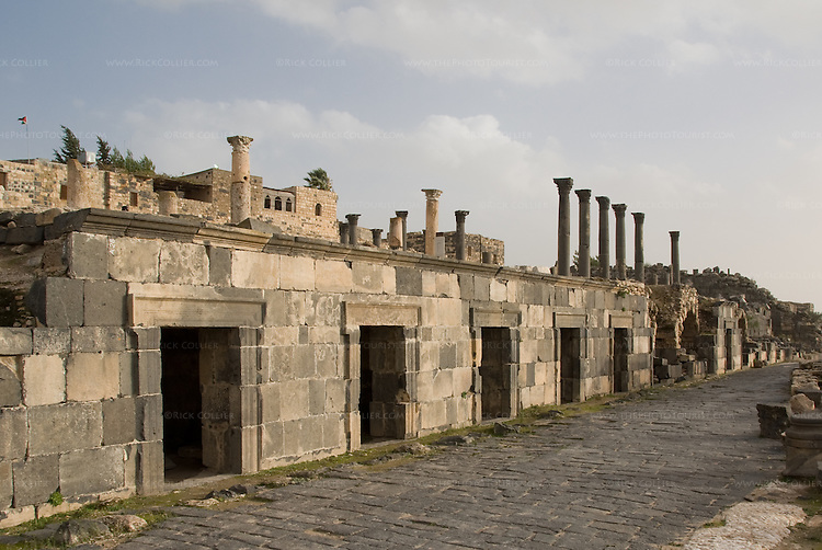 An Ottoman town tops the acropolis over Roman ruins and street at the biblical town of Gadara (home of the Gadarenes).  Now called Umm Qais, in northwestern Jordan.  © Rick Collier