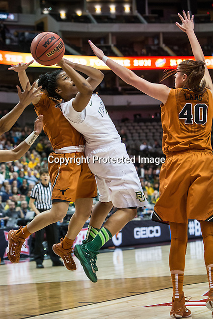 center Kelsey Lang (40) defends guard Niya Johnson (2) during Big 12 women's basketball championship final, Sunday, March 08, 2015 in Dallas, Tex. (Dan Wozniak/TFV Media via AP Images)