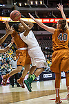 center Kelsey Lang (40) defends guard Niya Johnson (2) during Big 12 women's basketball championship final, Sunday, March 08, 2015 in Dallas, Tex. (Dan Wozniak/TFV Media via AP Images)