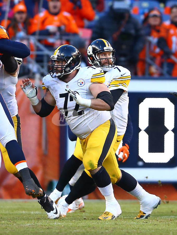 Jan 17, 2016; Denver, CO, USA; Pittsburgh Steelers center Cody Wallace (72) blocks for quarterback Ben Roethlisberger (7) against the Denver Broncos during the AFC Divisional round playoff game at Sports Authority Field at Mile High. Mandatory Credit: Mark J. Rebilas-USA TODAY Sports