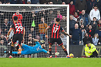 Joshua King of AFC Bournemouth hits the post with a second penalty kick during AFC Bournemouth vs Wolverhampton Wanderers, Premier League Football at the Vitality Stadium on 23rd February 2019