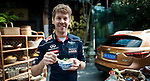 Formula One Triple World Champion Sebastian Vettel poses with a bowl of traditional chinese after cooked it with help of chef Tzu-i Chuang Mullinax at the Yongfoo Elite Chinese restaurant during his day with Infiniti ahead of the Chinese Grand Prix on 10 April 2013 in Shanghai, China. Photo by Victor Fraile / The Power of Sport Images