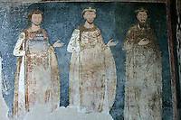 king Vladislav ,king Radoslav ,King Stephan the First-Crowned,procession of the Nemanyics,fresco,old narthex,Milesheva  Monastery of Ascension of the Lord , 1234-1235