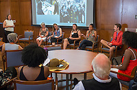 Alums discuss Telling Oxy's Story from Past to Present, Cushman Boardroom of Hinchliffe Hall (formerly Dumke Faculty Commons.)<br /> Occidental College alums enjoy a long weekend of activities and festivities both on campus and off during Alumni Reunion Weekend, June 22, 2013.<br /> (Photo by Marc Campos, Occidental College Photographer)