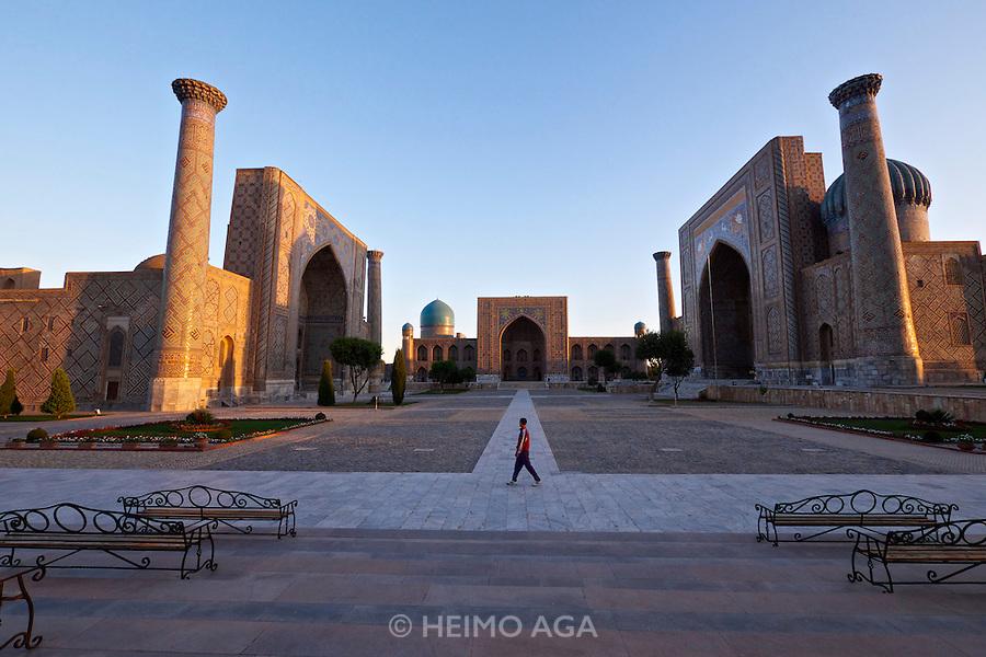 Uzbekistan, Samarqand.<br /> Registan ensemble at sunrise.