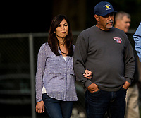 LOUISVILLE, KY - MAY 02: Trainer Mick Ruis with his wife Wendy at Churchill Downs on May 2, 2018 in Louisville, Kentucky. (Photo by Alex Evers/Eclipse Sportswire/Getty Images)