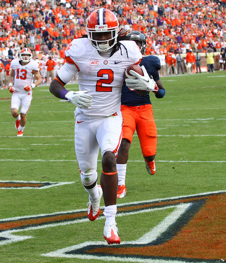 Clemson wide receiver Sammy Watkins (2) scores a touchdown after a long pass in the first quarter of the game against Virginia Saturday at Scott Stadium in Charlottesville, VA. Clemson defeated Virginia 59-10.  Photo/Andrew Shurtleff