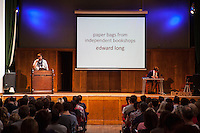 The Boring Conference at Conway Hall. Edward Long, a poet, talks about his fascination with Bookshop carrier bags in a talk titled &quot;Paper bags from independent book shops&quot;. The Boring Conference is a one-day celebration of the mundane, the ordinary, the obvious and the overlooked; subjects often considered trivial and pointless, but when examined more closely reveal themselves to be deeply fascinating.<br /> <br /> It was created in response to the cancellation of the 2010 Interesting Conference. It seemed like the obvious thing to do.