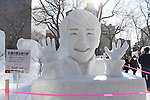 66th Sapporo Snow Festivai February 5th, 2015. <br /> A sculpture of Japanese figure skater Yuzuru Hanyu made from snow. (Photo by Hitoshi Mochizuki/AFLO)