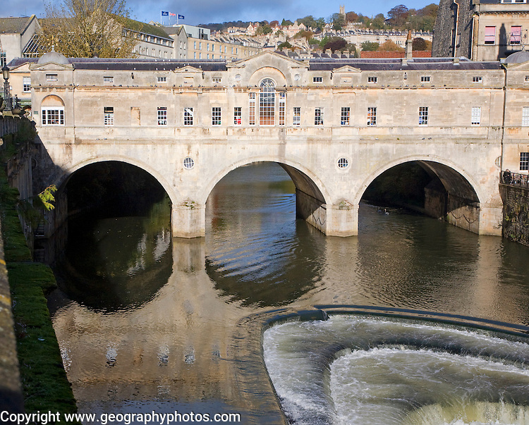 Pulteney Bridge on the River Avon, completed in 1773 designed by Robert Adam, Bath, Somerset, England