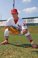 Cody Stanley #25 of the Johnson City Cardinals at Howard Johnson Field July 3, 2010, in Johnson City, Tennessee.  Photo by Brian Westerholt / Four Seam Images