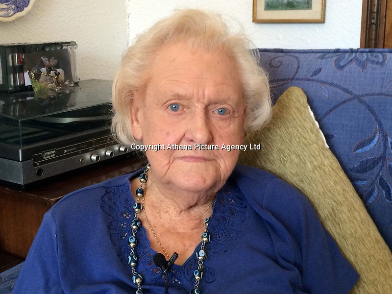 Pictured: Margaret Turner, 95 from Penarth, south Wales.<br /> Re: A 95-year-old woman has spoken out after being conned three times by fraudsters claiming to be police officers.<br /> South Wales Police are investigating a number of incidents where fraudsters have been pretending to be police officers calling up mainly elderly and vulnerable people claiming that there has been fraudulent activity on their accounts.<br /> These fake officers give fake badge numbers and use the bogus phone number 161 to convince the victims that they are real officers.<br /> Penarth resident Margaret Turner, 95, is the most recent victim of this scam. She has been targeted three times in the past 10 months by fraudsters who have taken almost £20,000 from her.<br /> During the first incident, a fraudster claiming to be from the HSBC fraud investigation team called Miss Turner saying her account had been compromised. He advised her to withdraw her money and deposit it into the account numbers he provided.