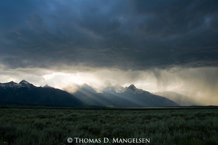 Dark storm clouds over the Tetons in Grand Teton National Park, Wyoming.