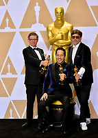 Paul Denham Austerberry, Shane Vieau &amp; Jeffrey A. Melvin at the 90th Academy Awards Awards at the Dolby Theartre, Hollywood, USA 04 March 2018<br /> Picture: Paul Smith/Featureflash/SilverHub 0208 004 5359 sales@silverhubmedia.com