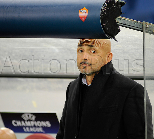 17.02.2016. Stadio Olimpico, Rome, Italy. UEFA Champions League, Round of 16 - first leg, AS Roma versus Real Madrid.  The coach of Roma Luciano Spalletti looks pensive in the dugout