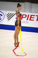 September 21, 2007; Patras, Greece;  Elizabeth Paisieva of Bulgaria waits to begin with ribbon during All-Around final at 2007 World Championships Patras.  Betty helped Bulgaria to receive the 2nd of 2 positions for the individual All-Around at Beijing 2008 Olympics.  Photo by Tom Theobald. .